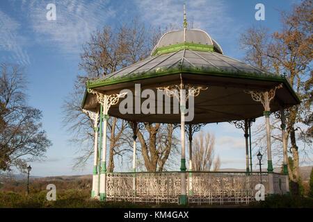 Cast iron, bandstand, Peel Park Kirkintilloch, East Dunbartonshire, Scotland - Stock Image