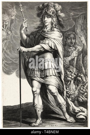 Alexander the Great, Jeremias Falck, after Claude Vignon, engraving, 1644 - Stock Image