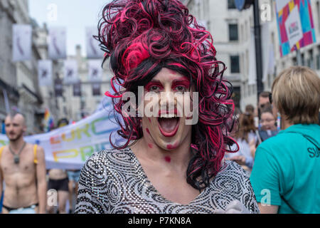 London, UK. 7th July 2018. Open mouthed Drag Queen at  Pride in London Parade 2018  Credit Ian Davidson/Alamy Live News - Stock Image