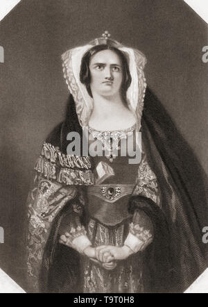 Lady Macbeth.  Principal female character from Shakespeare's play Macbeth.  From Shakespeare Gallery, published c.1840. - Stock Image