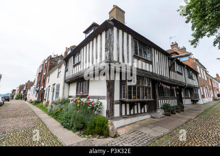 St Anthony's, the timber framed Tudor building on the corner of Church Square in Rye, East Sussex, England, UK - Stock Image