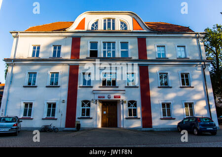 Front view at the town hall in Pszczyna (Pless), Poland. - Stock Image