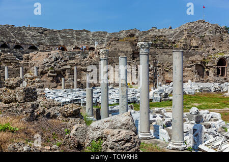 The ruins of the old ancient theater in Side, Turkey archeology background. - Stock Image