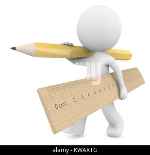 Dude 3D character carrying large wooden Ruler and yellow Pencil.  3d Render. - Stock Image