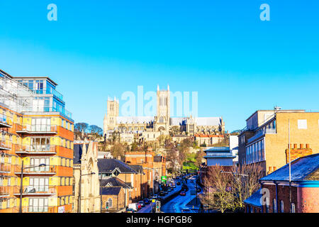 Lincoln Cathedral Lincolnshire building exterior facade UK England Lindum Hill Lincoln city street road - Stock Image