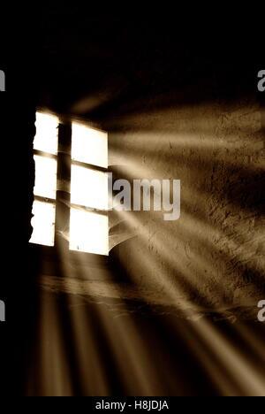 light rays through the window - Stock Image