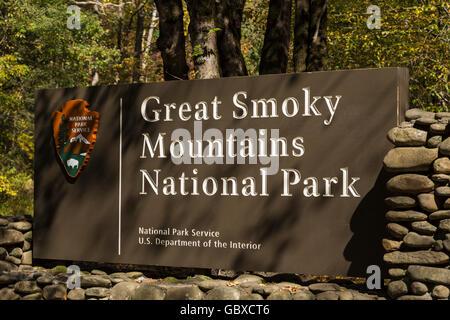 Entrance sign to Great Smoky Mountains National Park, NC, USA - Stock Image