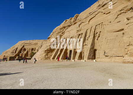 The great and small Abu Simbel temples at Abu Simbel, a village in Nubia, southern Egypt, North Africa - Stock Image