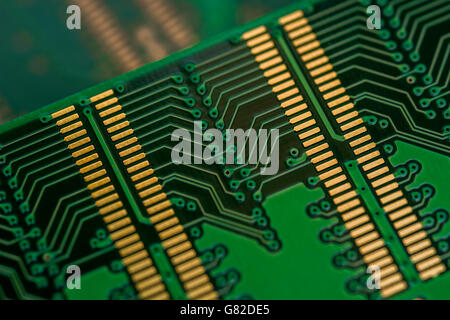 Computer memory concept. Underside of 184-pin DDR SDRAM module showing wiring of the DIMM (dual in-line memory module). - Stock Image