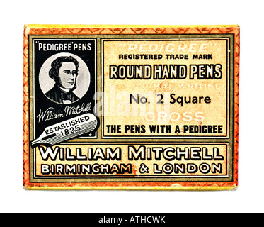 Old Box of William Mitchell Pedigree Round Head Pen Nibs EDITORIAL USE ONLY - Stock Image