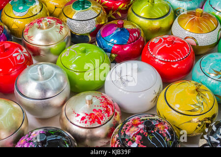 Bowls with lids on sale in Chinatown Singapore. - Stock Image