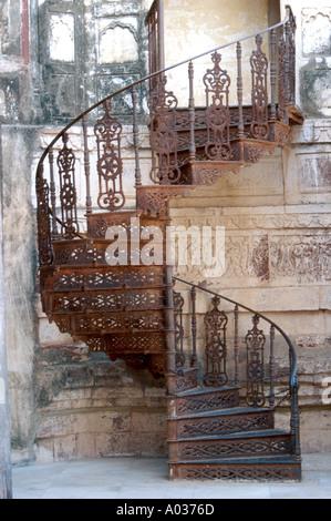 Wrought Iron Staircase, Jodhpur, Rajasthan, India - Stock Image