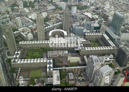 Aerial view of London's Barbican Arts and Conference Centre, featuring St Giles's Church and the City of - Stock Image