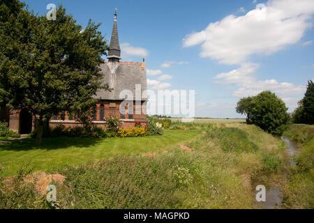 St Polycarp's chapel, Holbeach Drove, Great Postland Fens, Lincolnshire, England - Stock Image