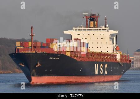 MSC Messina leaving Hamburg - Stock Image