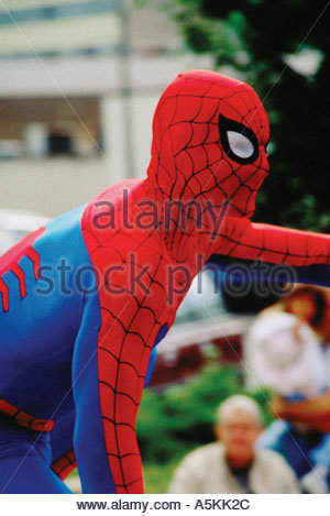 Spider Man in a parade, 1992 - Stock Image
