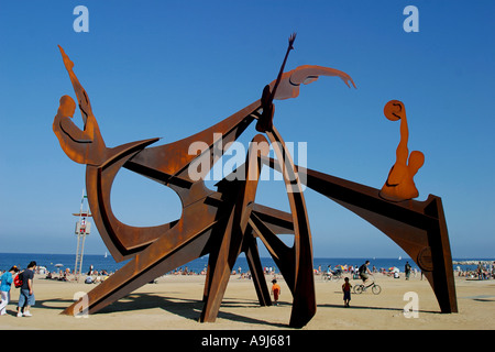 ESP Spanien Barcelona Barceloneta beach Sculpture - Stock Image