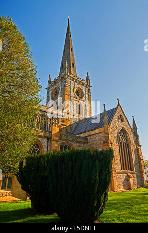 Holy Trinity church Stratford upon Avon, burial place of  playwright William Shakespeare stands on the banks of the River Avon, Warwickshire. - Stock Image