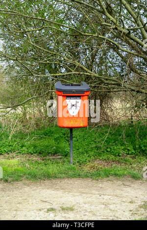 Old dog waste disposal bin - Stock Image