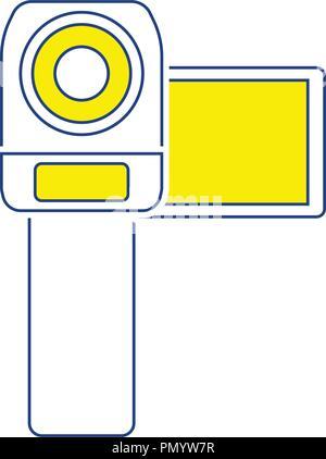 Video camera icon. Thin line design. Vector illustration. - Stock Image