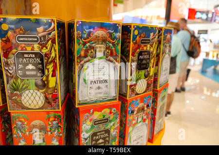 Silver Patron tequila for sale in the duty free shop, Cancun airport, Cancun, Mexico - Stock Image