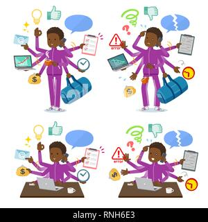 A set of school boy in sportswear who perform multitasking in the office.There are things to do smoothly and a pattern that is in a panic.It's vector  - Stock Image