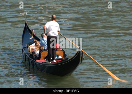 Gondola on Grand Canal, Venice, Italy - Stock Image