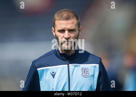 Starks Park, Kirkcaldy, UK. 13th July, 2019. Scottish League Cup football, Raith Rovers versus Dundee; Jamie Ness of Dundee inspects the pitch before the match Credit: Action Plus Sports/Alamy Live News - Stock Image