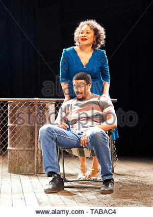 King Hedley II by August Wilson, directed by Nadia Fall.With Aaron Pierre as King Hedley, Martina Laird as Ruby. Opens at Stratford East Theatre on 23/5/19 pic Geraint Lewis EDITORIAL USE ONLY - Stock Image