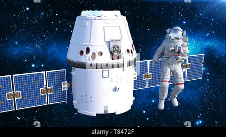 Astronaut with satellite checking air, cosmonaut in spacesuit floating in space with spacecraft in the background, 3D rendering - Stock Image