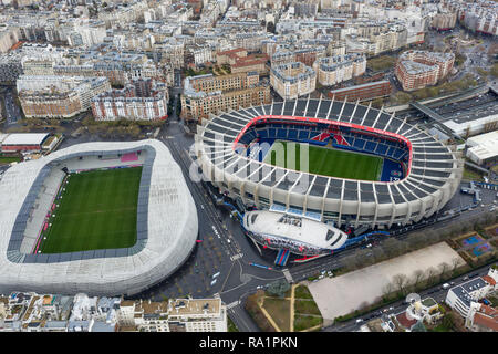 Aerial View of Le Parc des Princes stadium for soccer team Paris Saint-Germain and Stade Jean Bouin home of the rugby team in Paris, France - Stock Image