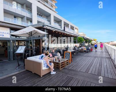 Restaurants lined up along Cairns Wharf, Far North Queensland, FNQ, QLD, Australia - Stock Image