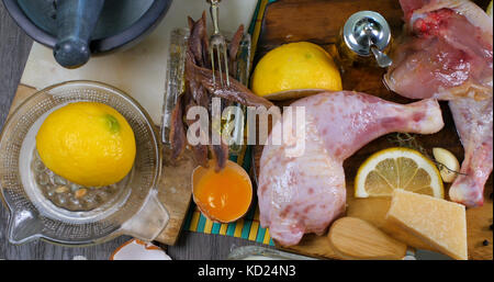Top down view of ingredients for a delicious Caesar's salad - Stock Image