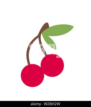cherry fruit berry green leaf illustration red - Stock Image
