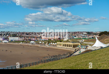Looking down on Whitmore Bay on Barry Island on the South Wales Coast. This is an area popular with visitors, tourists and holidaymakers. - Stock Image