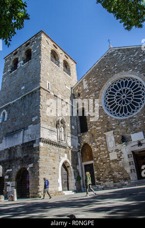 The Cathedral of San Giusto in Trieste stands on the hill of the same name, in the heart of the ancient Roman city of Tergeste. - Stock Image
