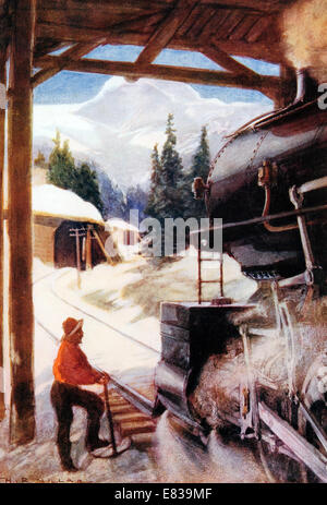 Conquest of the avalanche snow shed circa 1910 - Stock Image