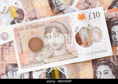 Jane Austen £10 pound note, England, UK. - Stock Image