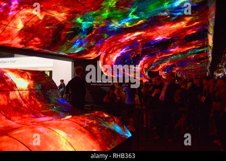 Wall and ceiling display, 'massive curve of nature' - 260 55-inch rollable OLED TVs (televisions), from LG at CES in Las Vegas Convention Center, USA - Stock Image