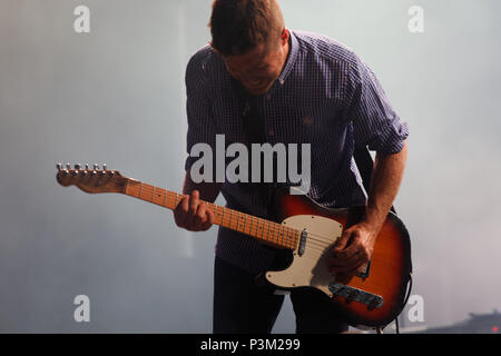 Montreal, Canada. Vincent Vallieres performs on stage at the Francos Montreal French music festival in downtown Montreal - Stock Image