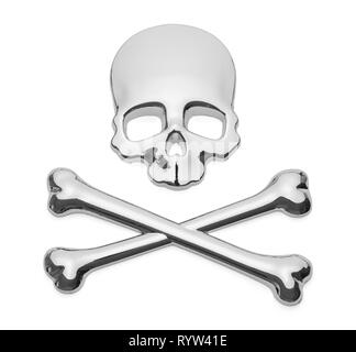 Skull and Cross Bones Pirate Car Decal Badge on Isolated. - Stock Image