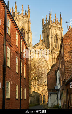 York, and the historic York Minster towers over the buildings in the city centre. - Stock Image