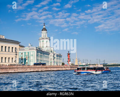 19 September 2018: St Petersburg, Russia - The Kunstkamera, or Kunstkammer Building which hosts the Peter the Great Museum of Anthropology and... - Stock Image