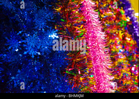 image of christmas decoration tinsel detail - Stock Image