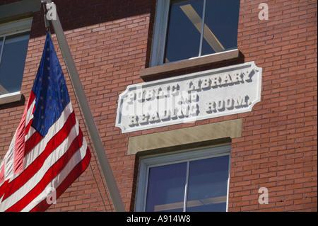 Sign on Exterior of Library Newburyport Massachusetts - Stock Image