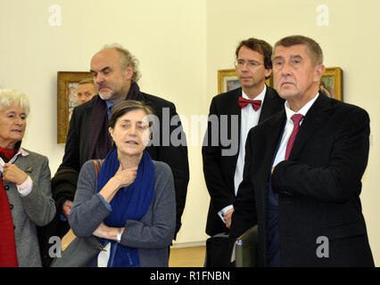 Paris, France. 12th Nov, 2018. Czech Prime Minister Andrej Babis (right) visits the Centre Pompidou in Paris, France, on November 12, 2018, during his visit to France. On the photo are seen also Czech Republic's ambassador to France Petr Drulak (2nd from right) and director of National Gallery in Prague Jiri Fajt (3rd from right, back). Credit: Ales Zapotocky/CTK Photo/Alamy Live News - Stock Image
