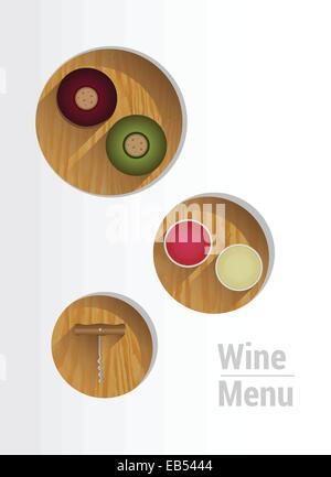 Wine menu with cut out circles showing wine crackers and corkscrew - Stock Image