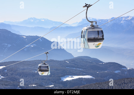 Cable car at Rittner Horn / Corno del Renon, Dolomite Alps - Stock Image