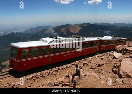 Railroad to Pikes Peak National Park ridge Colorado Rocky Mountains - Stock Image