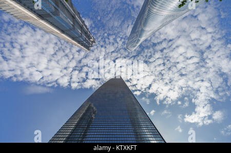 The three talles buildings in Shanghai - Stock Image